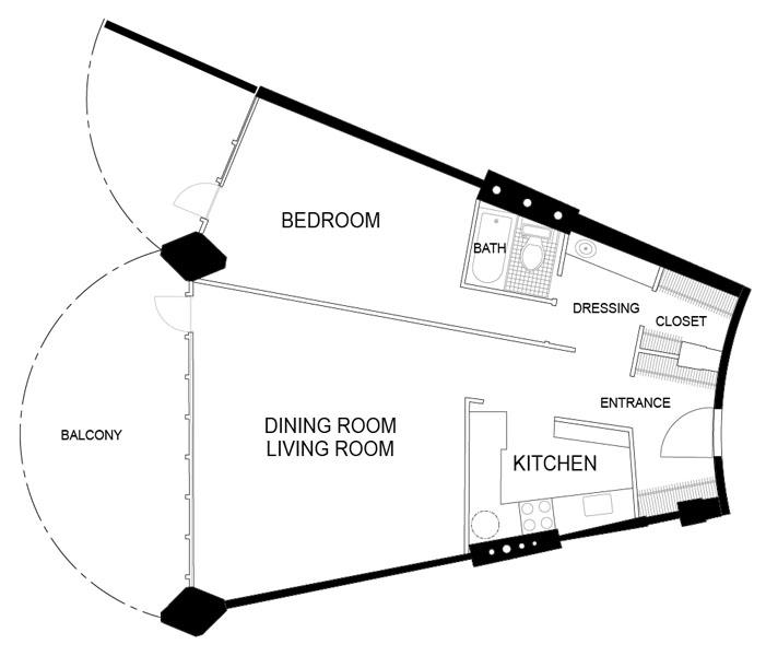 Marina City 1br foorplan