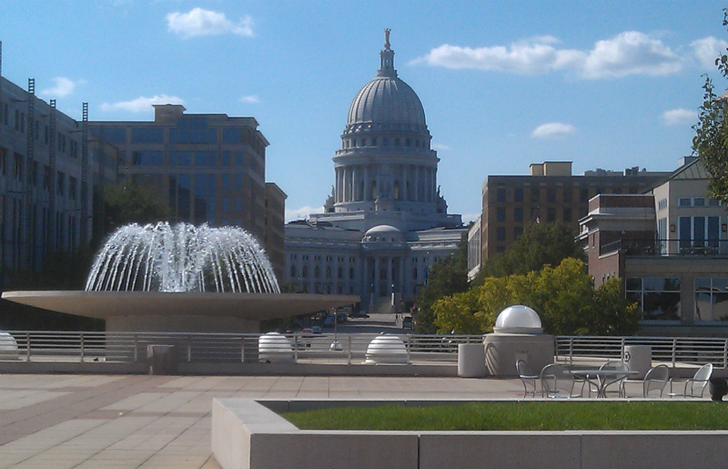 Wisonsin State Capitol from Monona Terrace in Madison